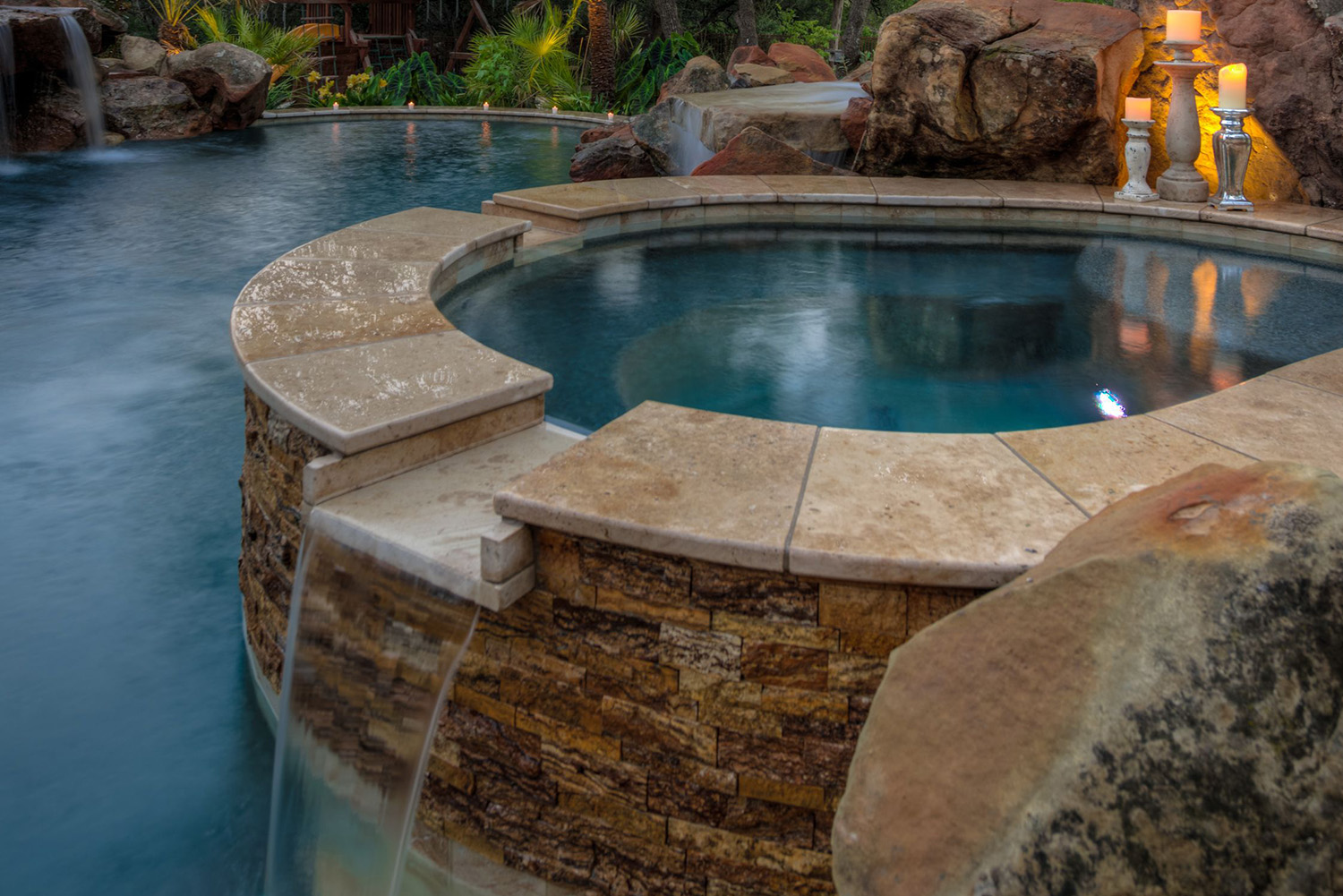Pool with Water Spout and Column