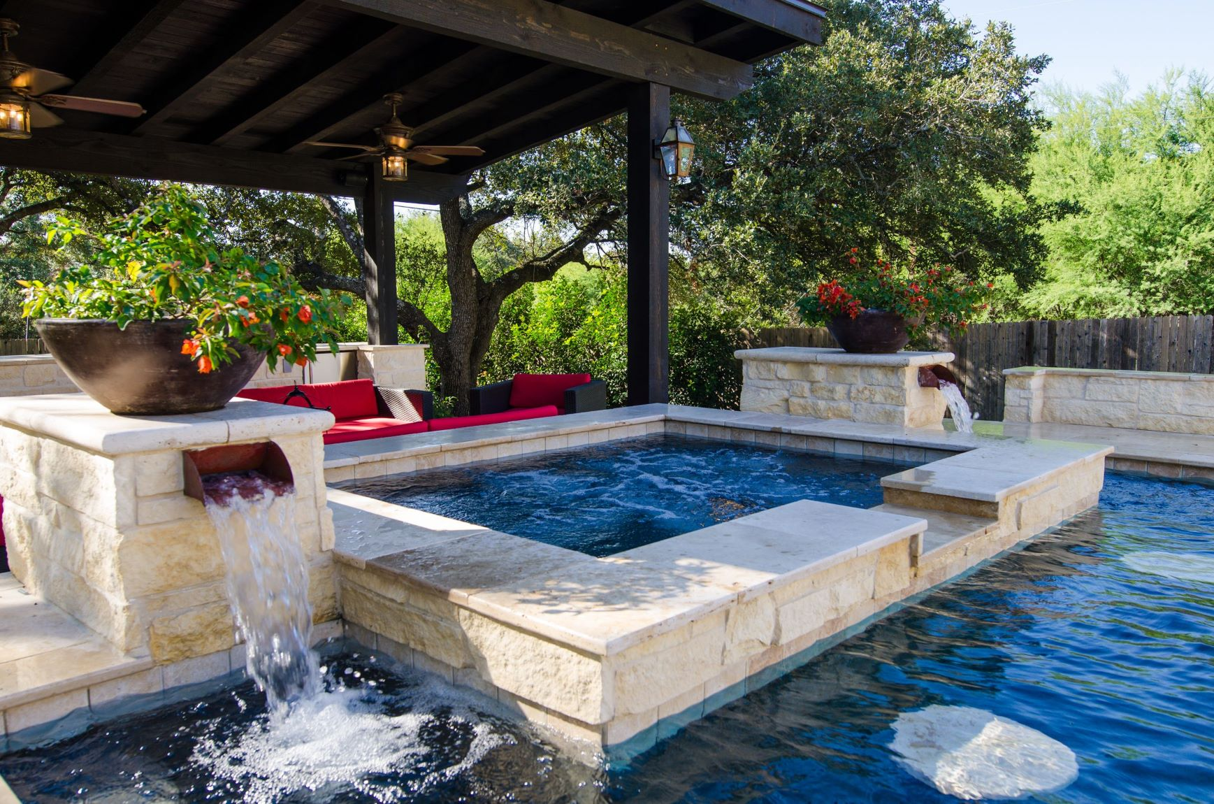 Contemporary pool with scupper water feature.