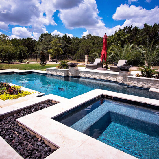 Geometric Poolscape with a diving board in San Antonio.