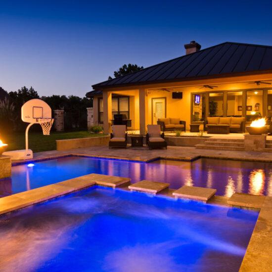 LED Pool Lights offer night swimming at this San Antonio Pool.