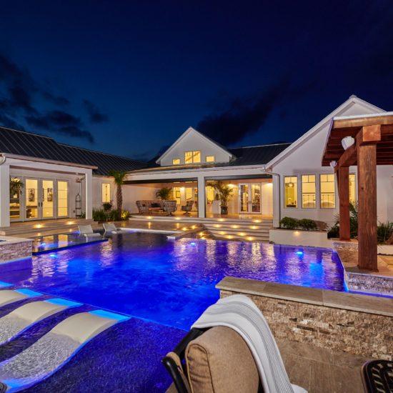 bourn home pool at night