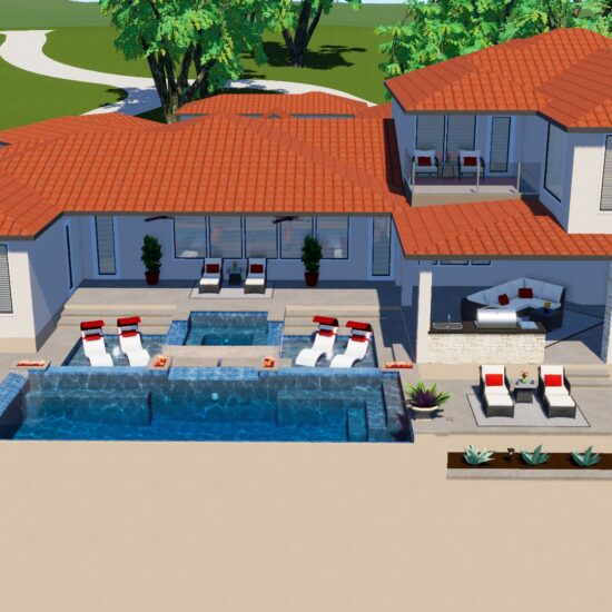 Picture of a 3D renderings drawing for custom poolscape.