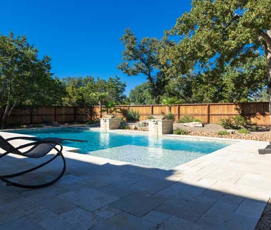 modern pool with beautiful water features